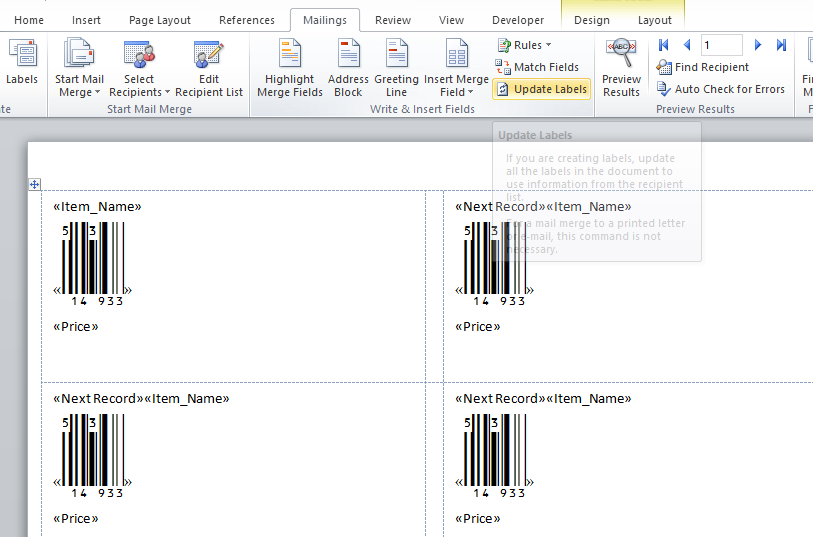 KB10028 - Tutorial: Creating barcode labels with Microsoft Word Mail